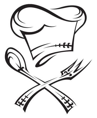 gorro chef: sombrero de chef con cuchara y tenedor