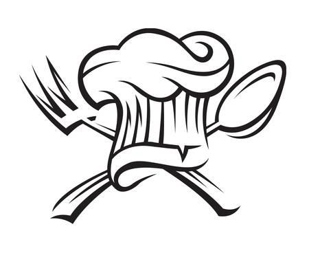 chef hoed met lepel en vork Vector Illustratie