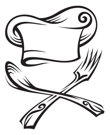 chef hat: chef hat with spoon and fork