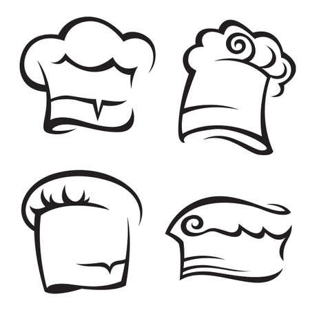 chef hat: set of chef hats Illustration