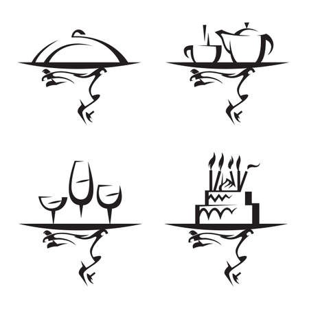chicken dish: restaurants icon set