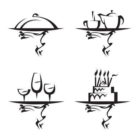 serveur avec plateau: restaurants jeu d'ic�nes