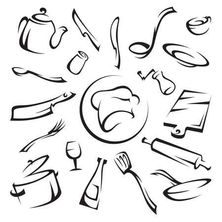 fork glasses: utensili da cucina Vettoriali