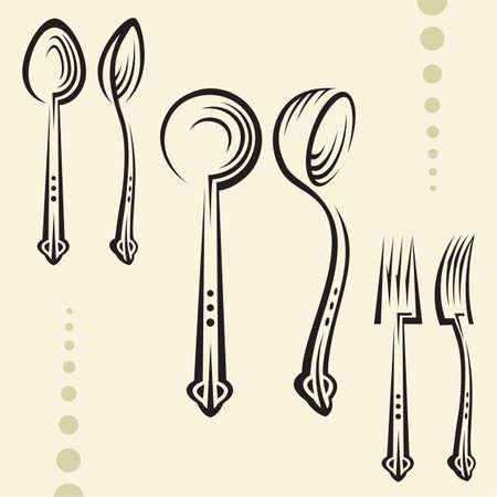 mestolo: utensili da cucina Vettoriali