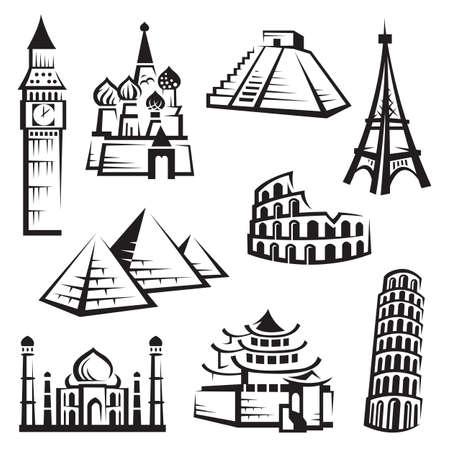 tower of pisa: set of landmarks Illustration
