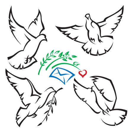 dove of peace: set of pigeons