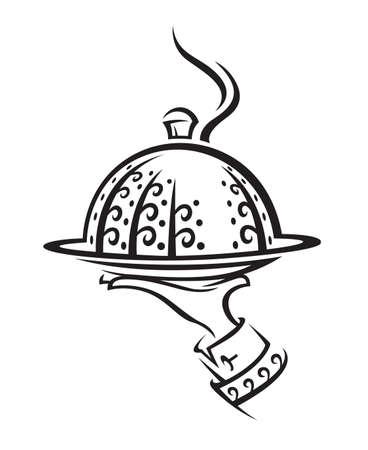 serveur avec plateau: Restaurant ic�ne