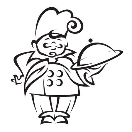 cartoon chef: chef with tray of food in hand Illustration
