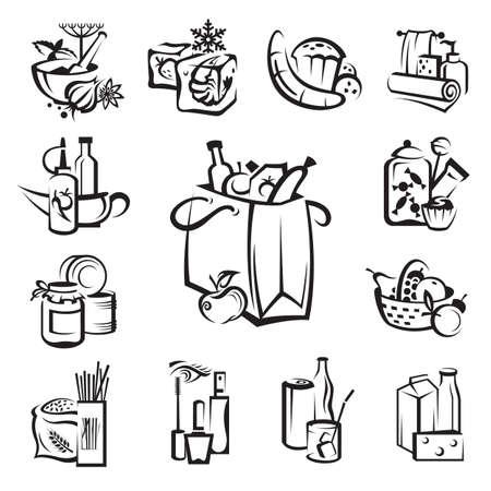 comida rica: conjunto de iconos de alimentos y bienes