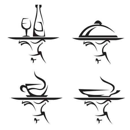 bandeja de comida: restaurantes conjunto de iconos