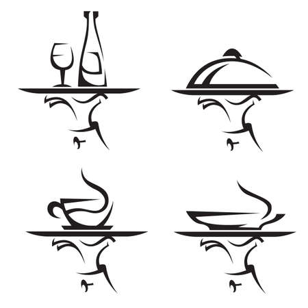 waiter tray: restaurants icon set
