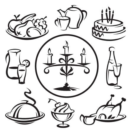 lunch tray: set of dishes Illustration