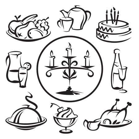 food tray: set of dishes Illustration