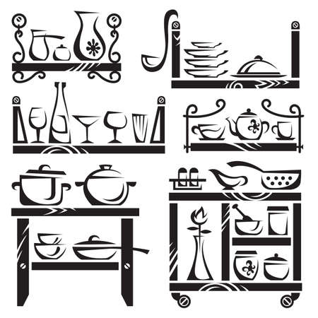 kitchen illustration: kitchen utensils on shelves