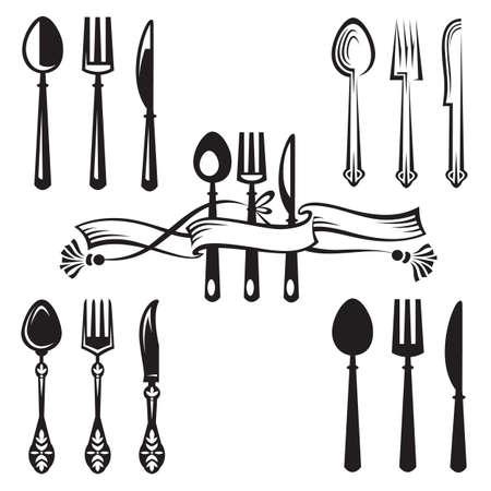 cuchara y tenedor: cuchillo, tenedor y cuchara