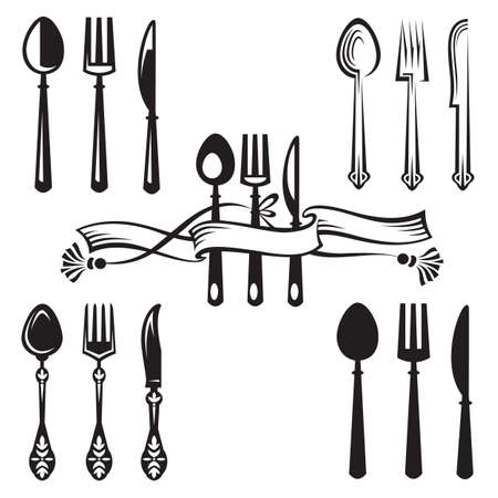 knife and fork: knife, fork and spoon