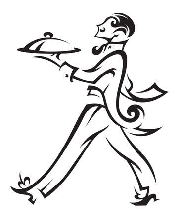 mesero: camarero con la bandeja de la comida en la mano