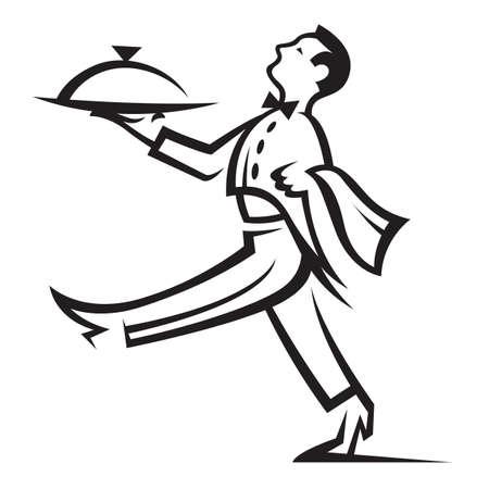 číšník: číšník s podnosem s jídlem v ruce Ilustrace