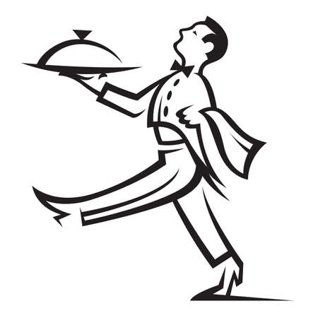 waiter tray: waiter with tray of food in hand