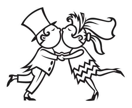 black wedding couple: wedding couple kissing Illustration