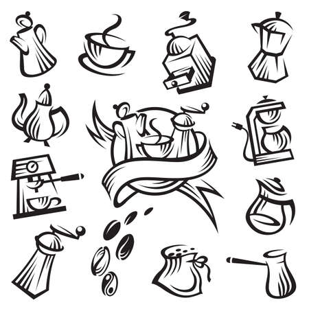 coffee beans isolated: coffee icon set