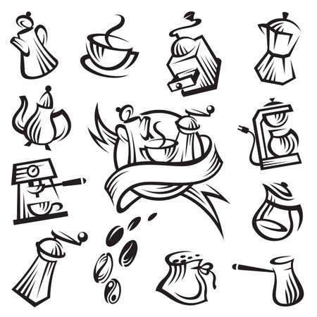 coffee machine: coffee icon set
