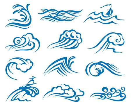 surf silhouettes: set di onde