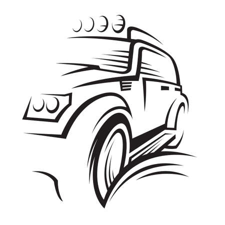 headlight: monochrome illustration of a car
