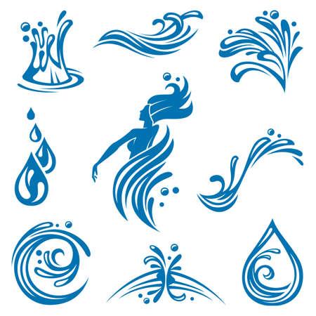 � gua: ícones da água Ilustra��o