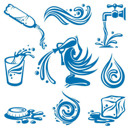 rimpeling: water iconen Stock Illustratie