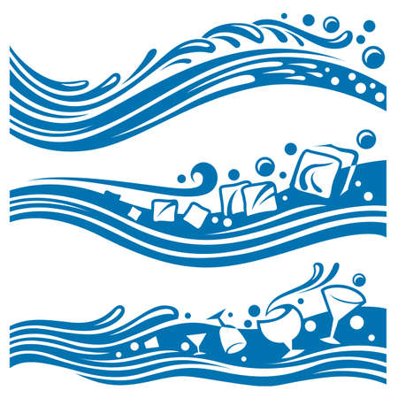 set of abstract waters designs Vector