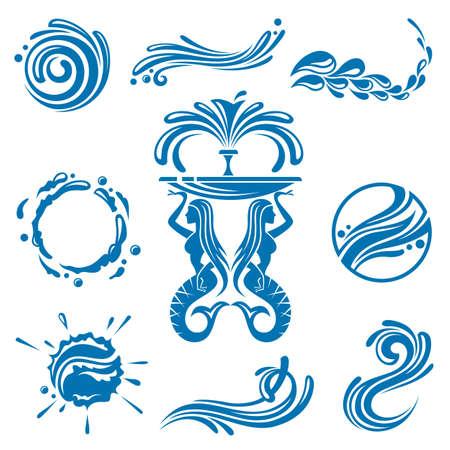 fontana: serie di disegni astratti acque Vettoriali