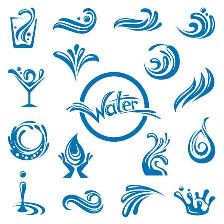 un conjunto de diseños abstractos aguas Ilustración de vector