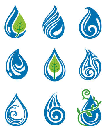 set of abstract water drops Stock Vector - 12827169