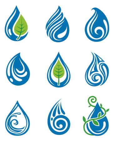 set van abstracte waterdruppels