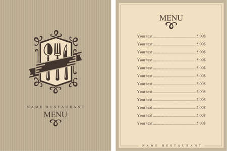 flatwares: restaurant menu design Illustration
