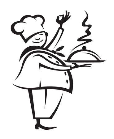 serviteurs: chef avec plateau de nourriture dans la main