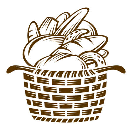 loaf of bread: different breads in the basket