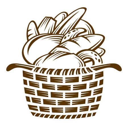 košík: různé chleby v košíku