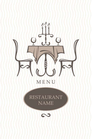 dining table and chairs: restaurant menu design Illustration