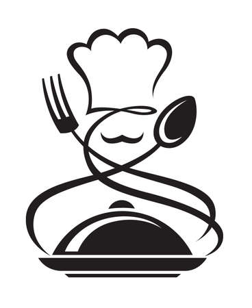 chefs cooking: chef hat with spoon and fork