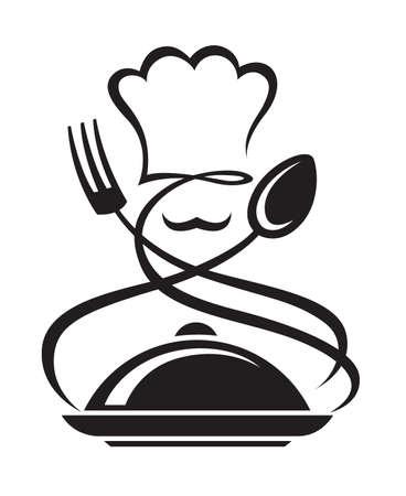 cocinero: Chef sombrero con cuchara y tenedor