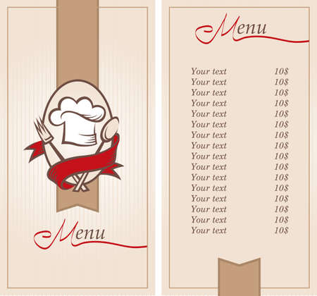 menu background of chef hat with spoon and fork Vector
