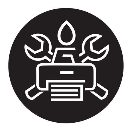 monochrome icon printer service Vector
