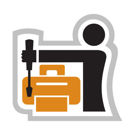 repair computer: icon of the master charging printers