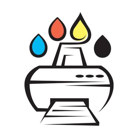 impresora: icono del servicio de abastecimiento de combustible para las impresoras