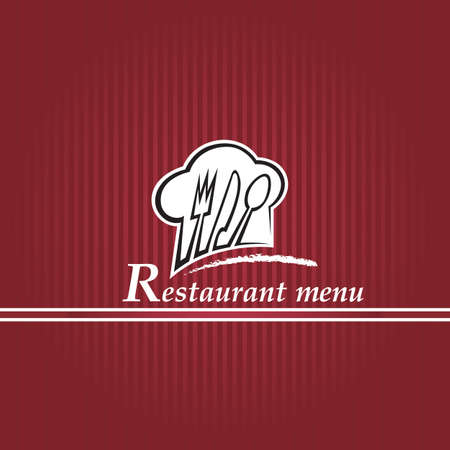menu background of chef hat with spoon, knife and fork Vector