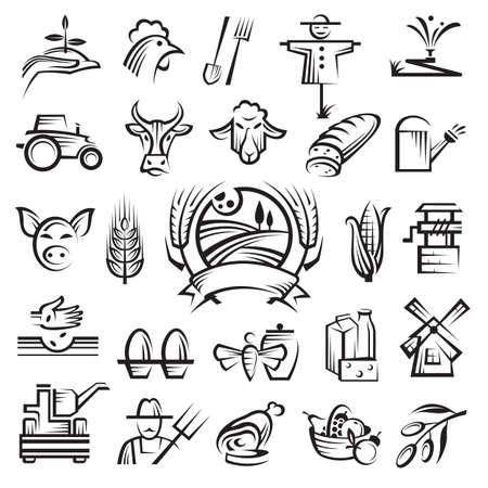 molino de agua: un conjunto de veinticinco iconos de la agricultura y la agricultura