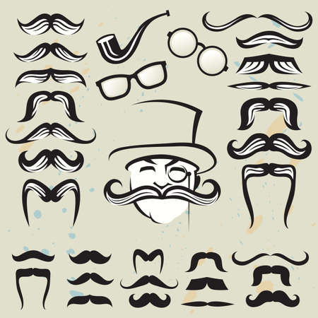 eyeglass: retro set of mustaches and other accessories