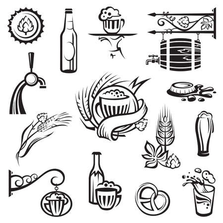 beer drinking: beer icons set Illustration